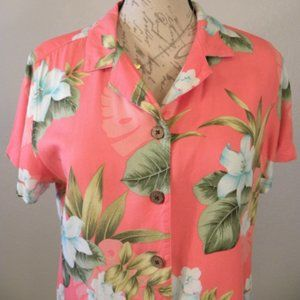 Jamaica Bay Pink Top Floral Print Wood Buttons VTG